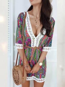 Γυναικείο μακρύ φόρεμα με δαντέλα 565304