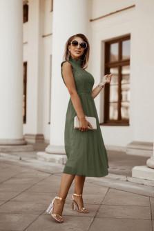 Γυναικείο φόρεμα με δαντέλα και τούλι 5227 σκούρο πράσινο