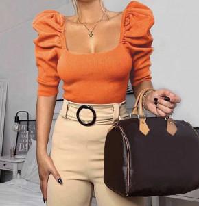 Γυναικεία μπλούζα με φουσκωτό μανίκι 2405 πορτοκαλί