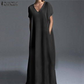 Γυναικείο plus size μακρύ φόρεμα 21476 μαύρο