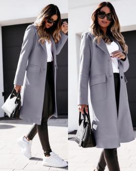 Γυναικείο κομψό παλτό 8680 γκρι