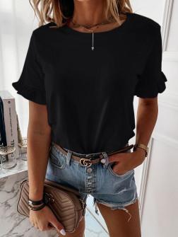 Γυναίκεια μπλούζα με βολάν στο μανίκι 5097 μαύρο