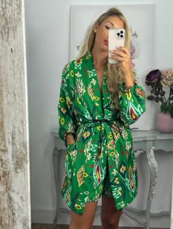 Γυναικείο σετ κιμονό και σορτσάκι 55860 πράσινο