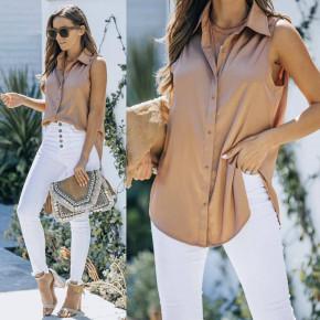Γυναικείο αμάνικο πουκάμισο 21157 καμηλό