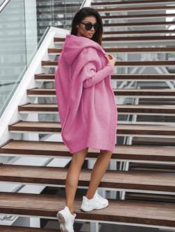 Γυναικεία ζακέτα με ραφή στην πλάτη 2267 ροζ