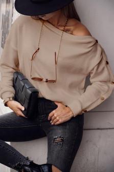 Γυναικεία μπλούζα με κουμπιά 15184 μπεζ