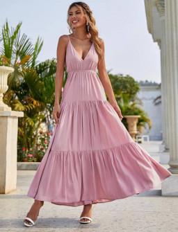 Γυναικείο μακρύ φόρεμα με βαθύ ντεκολτέ 5842 ροζ