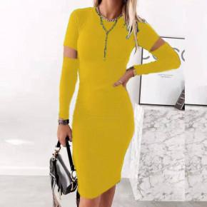 Γυναικείο εφαρμοστό φόρεμα 2722 κίτρινο