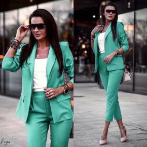 Γυναικείο σετ σακάκι και παντελόνι 3970 μέντα