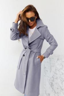 Εντυπωσιακό παλτό με φόδρα 5415 γκρι
