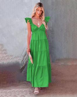Γυναικείο μακρύ φόρεμα 27786 πράσινο