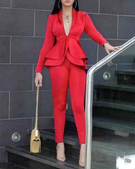 Γυναικείο σετ σακάκι και παντελόνι 1932 κόκκινο