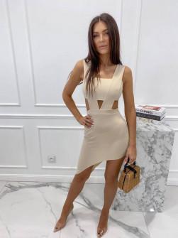 Γυναικείο εφαρμοστό φόρεμα 3670 μπεζ