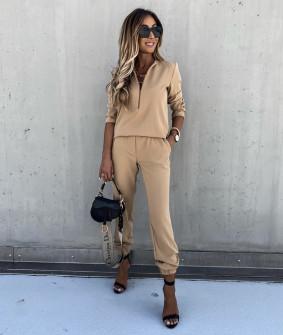 Γυναικείο σετ μπλούζα και παντελόνι 5301 μπεζ