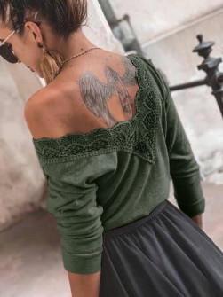 Γυναικεία μπλούζα με εντυπωσιακή πλάτη 5370 χακί