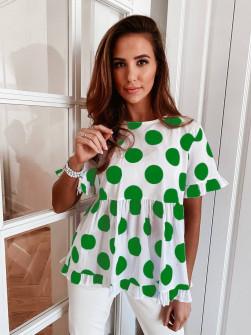 Γυναικεία μπλούζα πουά 21193 πράσινο