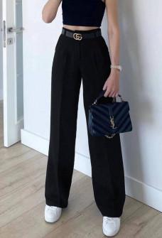 Γυναικείο φαρδύ παντελόνι με ζώνη 5508  μαύρο