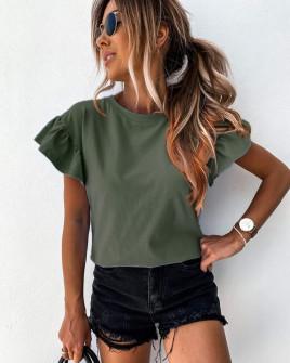 Γυναικεία μπλούζα με εντυπωσιακό μανίκι 5094 σκούρο πράσινο