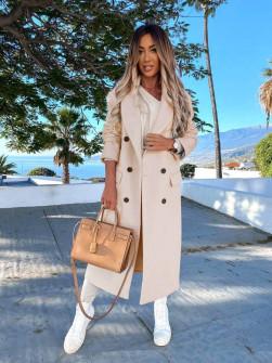 Γυναικείο μακρύ παλτό με φόδρα 5893 μπεζ
