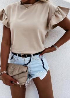 Γυναικεία μπλούζα με εντυπωσιακό μανίκι 4465 μπεζ