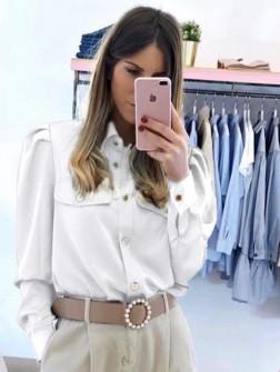 Γυναικείο πουκάμισο με τσέπες 2046 άσπρο