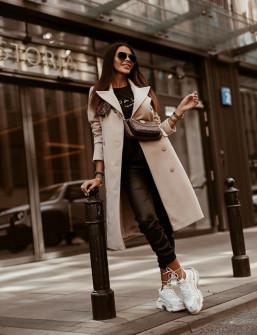 Γυναικείο παλτό με κουμπιά από τις δυο πλευρές 5356 μπεζ