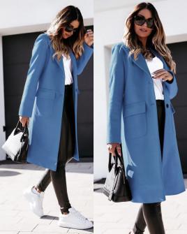 Γυναικείο παλτό μίντι με φόδρα 5361 γαλάζιο