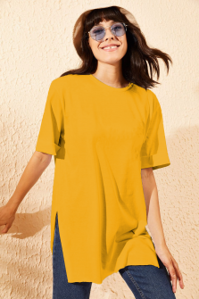 Γυναικείο μακρύ κοντομάνικο 20517 κίτρινο