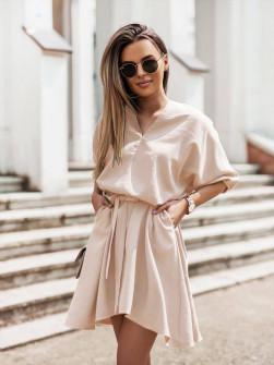 Γυναικείο χαλαρό φόρεμα με ζώνη 5889 μπεζ