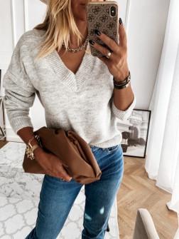 Γυναικεία μπλούζα με βαθύ ντεκολτέ 00690 γκρι