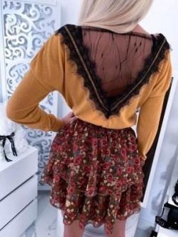 Γυναικεία μπλούζα με δαντέλα 5625 κίτρινη