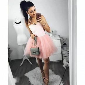 Γυναικείο φόρεμα με τιράντες 21810 ροζ