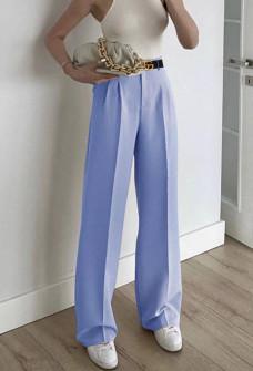 Γυναικείο φαρδύ παντελόνι με ζώνη 5508 γαλάζιο