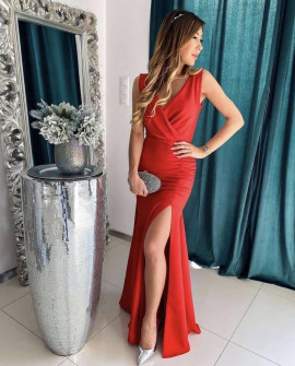 Дамска дълга рокля с цепка 5205 червена