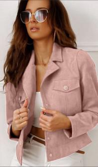 Γυναικείο μπουφάν βελουτέ 20800 ροζ
