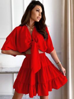 Γυναικείο σετ πουκάμισο και φούστα 14824 κόκκινο