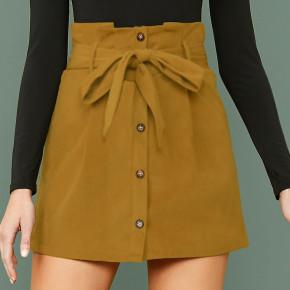 Γυναικεία φούστα με ζώνη 7079 κίτρινη