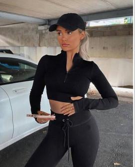 Γυναικείο ελαστικό αθλητικό σετ 2425 μαύρο