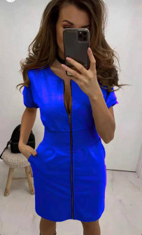 Γυναικείο φόρεμα με φερμουάρ 2865 μπλε