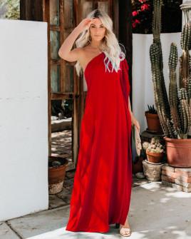 Дамска свободна рокля с един ръкав 5211 червена