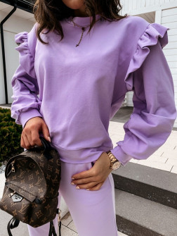 Дамска блуза с обемни ръкави 24155 светло лилава