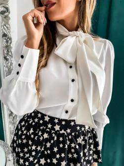 Γυναικείο πουκάμισο με φιόγκο 3919 άσπρο