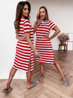 Γυναικείο φόρεμα μίντι 3436 κόκκινο
