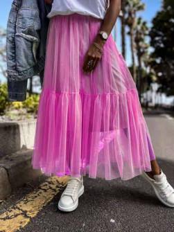 Γυναικεία αέρινη φούστα 5488 φούξια