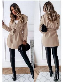 Γυναικείο παλτό με ζώνη 5290 μπεζ