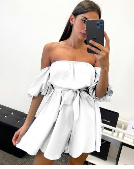 Γυναικείο έξωμο φόρεμα 44587 άσπρο