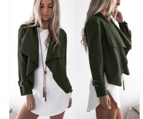 Γυναικείο σακάκι χωρίς φόδρα 5292 σκούρο πράσινο