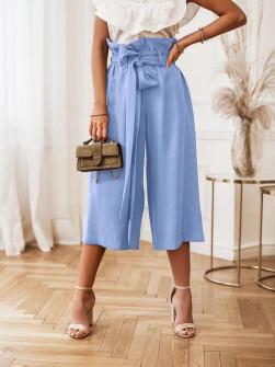 Γυναικείο χαλαρό παντελόνι 18088 γαλάζιο