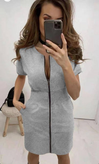 Γυναικείο φόρεμα με φερμουάρ 2865  γκρι