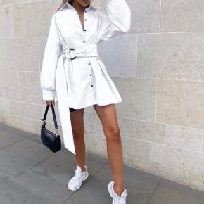 Γυναικεία πουκαμίσα με ζώνη 5023 άσπρη
